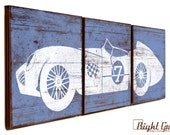 Vintage Race Car Print - Perfect for Boys Room Wall Art - Customizable 12x36