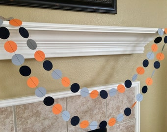 Orange Navy Gray Paper Garland, Orange Gray Navy Nautical Nursery, Wedding Decor, Boy's Birthday Party Decorations, Fall Party Garland Decor