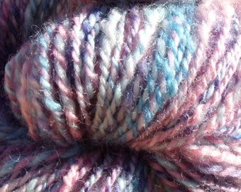 Handspun Falkland and Romney Wool Yarn in Purple Blue and Light Fuchsia 130 yds