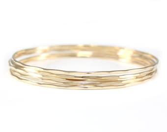 Skinny gold bangles | gold bangle set | hammered bangles | set of 5 bangles