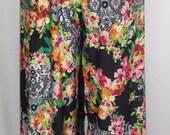 Plus Size Pants, Coco and Juan, Plus Size Bohemian Pants, Lagenlook, Roses and Lace Print,  Full Leg Pant, Longer Length Size 1 fits 1X,2X