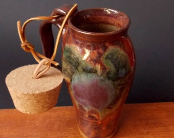 Stoneware Travel Mug With Cork ~ Abstract Apple Design ~