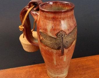 Stoneware Travel Mug With Cork ~ Dragonfly Design ~