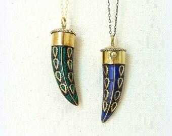 Boho tusk necklace malachite lapis lazuli bohemian jewelry tribal jewelry mens necklace boho jewelry horn necklace hippie jewelry