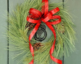 Simply Winter 16 Inch - Pine, Cone and Ribbon Wreath, Holiday Wreath, Christmas Decor, Holiday Decor, Christmas Wreath, Christmas, Winter