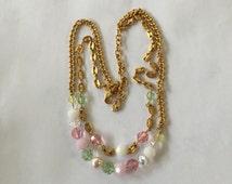 Swarovski Swan Signed Pastel Crystal & Pearl 2 Strand Necklace