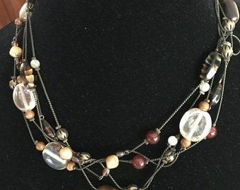 Vintage Chicos 5 Strand Autumn Bead Necklace