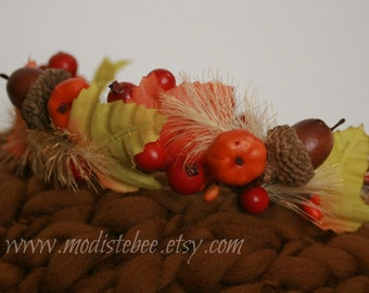 RTS... Fall Foliage Halo Wreath Newborn Headband Photography prop