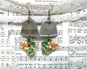 hammered thimble earrings assemblage enamel flower upcycle rustic