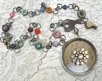 electronic floral necklace assemblage industrial salvage key upcycled vintage jewelry knob czech flower bead