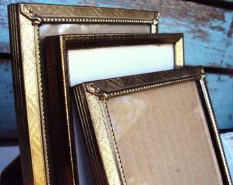 Vintage metal Picture Frame Frames Set Ornate Mid Century Ormolu Ornate Gold Metal Easel Back 1950s 1960s Decor 5x7 Frames