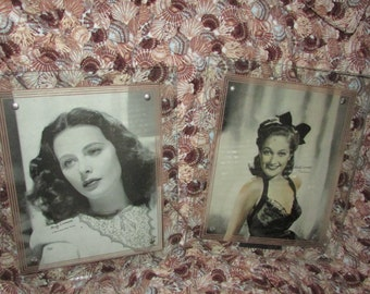 Pair Lovely Vintage GLASS Picture FRAMES 1940's Hollywood Stars Fits 8 by 10 See Through