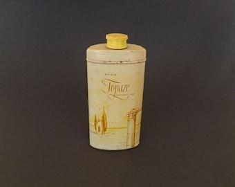Vintage Topaze Perfumed Talc by Avon, Collectible Tin, Vintage Discontinued Fragrance, Vanity Decor, Decorative Tin, Bedroom Decor