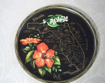 Vintage Collectible Memorabilia Souvenir Florida Metal Tray State Tray