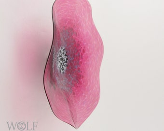 MADE TO ORDER Blown Glass Wall Art Fuchsia Pink Poppy Flower Wall Art Decor