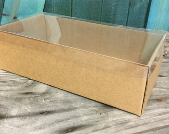 Heavy Kraft Cardboard Boxes set of 50 - Clear Top - Extra Large