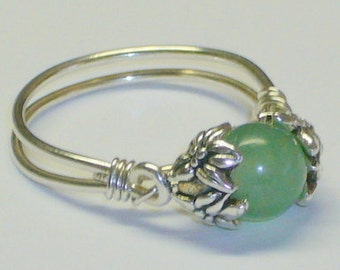Ring, Adventurine Healing Beads, Sterling Silver Band