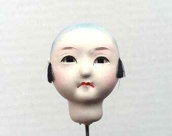 Japanese Doll Head - Vintage  Doll Head - Boy Doll Head - Man Doll Head - Monk #8 Small Size Bald