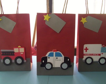 emergency transportation favor bags, kids favor bags