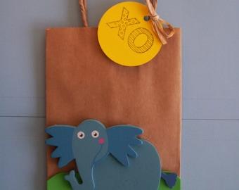 elephant favor bags, Horton Dr. SUESS elephant birthday party bags, Dr. Suess favor bags, children favor bags, loot bags