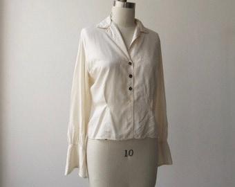 1970s vintage silk blouse / best & co silk blouse M