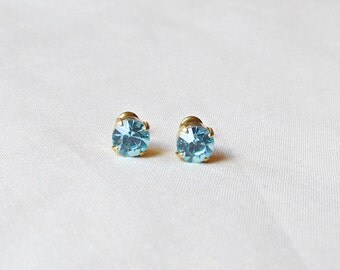 Aquamarine Earrings Ear Studs Vintage Glass Blue Aqua Round Glam It Up Jewellery dspdavey Jewelry Cute Small Miniature Sparkly Bridesmaid