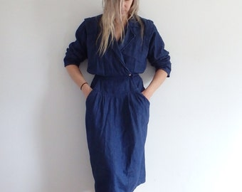 Denim Dress Vintage Jean 1980s