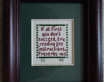 Read The Instructions- Inspirational Cross Stitch Picture - Wall Decor
