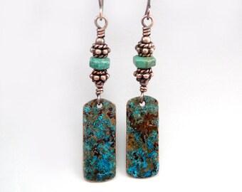 Long Dangle Earrings, Southwestern Jewelry, Copper Earrings, Rectangle Earrings, Turquoise Earrings, Earrings Long