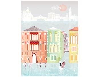 Venice Print, Venice Canal Gondola Art, Travel Paper Art Print, Poster for Home, Office, Childs, Kids room Nursery decor. Style: SPPV01
