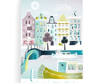 Amsterdam Wall Art Canvas, Bridges and Canal Boats, Cityscape, illustration, ready to hang. Home, Office, Childs, Kids and Nursery decor
