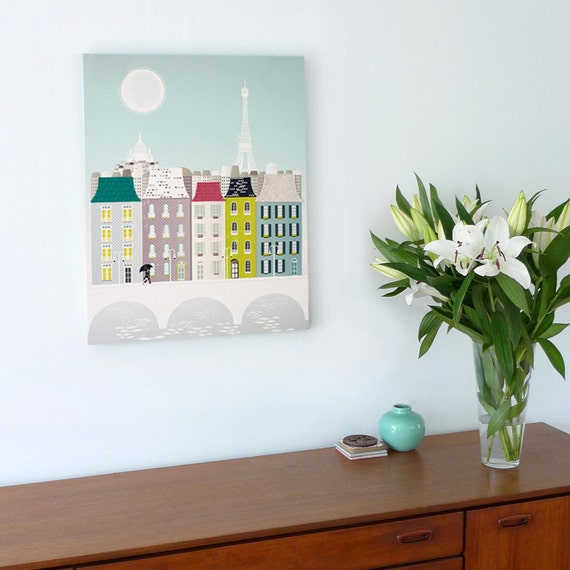 Paris Wall Art, Eiffel Tower Skyline, Canvas Wall Art Framed Print, Cityscape illustration, Home Office Wall Decor, Style: PCWA01