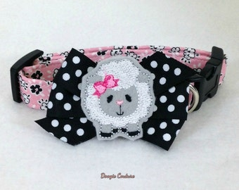 Just Be Ewe Sweet Sheep Dog Collar Size XS through Large by Doogie Couture