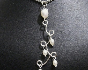 SALE 30% Wire Wrapped Pearl Necklace, Wrapped Sterling Silver N176