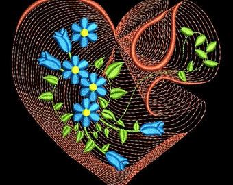 Embroidered  quilt blocks--Beautiful rippled hearts