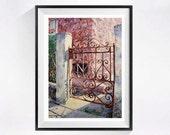 Old Gate Art Watercolor Print Fine art old metal gate door painting Landscape art print of rusty iron gate Backyard gate art pink painting