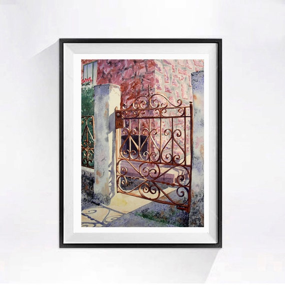Old Gate Art Watercolor Print Fine art old metal gate door painting Landscape art print of rusty iron gate Backyard gate art pink painting