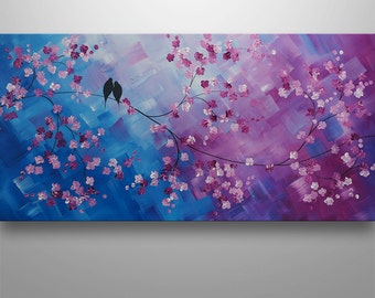 Abstract Painting,Tree Painting, Landscape Painting, Asian Decor, Cherry Blossom, Abstract Wall Art, Love Birds, Two Little Birds, Purple