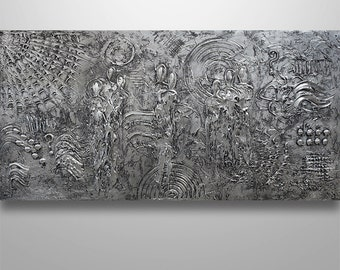 Abstract Painting Acrylic Original Modern Heavy Textured Painting 3D Art by Gabriela 48x24 Figures  Modern Abstract Painting Silver