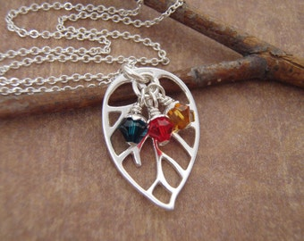 Mother's birthstone necklace - Grandmother gift - Kids birthstones - Family tree - Sterling silver leaf necklace - Photo NOT actual size