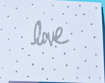 Glitter Cards - Romantic Cards - Same Sex Cards  - Anniversary Cards - Wedding Cards -  Love Cards - Silver Glitter Cards - SGC