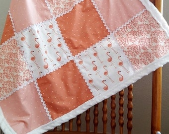 Pretty Pink Flamingos Minky Baby Quilt