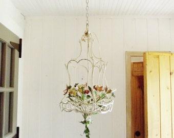Vintage Tole Chandelier Metal Floral Chandelier Vintage Lighting Plug in Chandelier