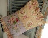 Wonderful Shabby Chic pillow lavenders, roses and pinks vintage buttons