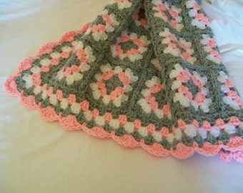 Baby Blanket Pink and Gray Granny Square Crochet Stroller Car Seat Crib Newborn Girl Afghan Handmade Homecoming Shower Gift Photo Prop