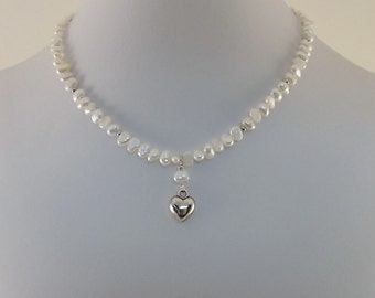 Freshwater Pearl Child Necklace - Seed Pearl Necklace - Silver Heart Necklace - Little Girl Necklace - Child Size - Silver Necklace - CH018