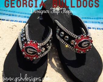 Georgia Bulldogs Designer Flip Flops