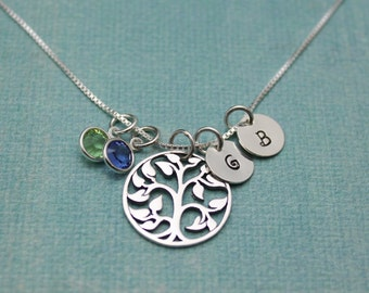 Family Tree Necklace - Silver Tree of Life - Personalized Mother's Necklace - Initial Necklace - Sterling Silver