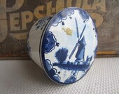 Vintage Blue Windmill Candy Tin Made in France by Jacquin Paris