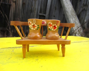 Vintage Kitschy Mini Wood Bench with Salt and Pepper Shaker made in Japan